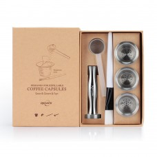 Stainless Steel Refillable Capsules Reusable Pods Compatible with Nespresso Machines(3 Pods+120 Lids+1 Tamper)