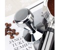Espresso Tamper 58mm Solid Iron with Chrome Plated Base | Modern Professional Barista| Espresso Coffee Tamper Flat Base Silver