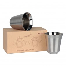 170ml Stainless Steel Espresso Cups Set - 2 Pack Double Wall Stainless Steel Espresso Cup