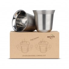 80ml Stainless Steel Espresso Cups Set - 2 Pack Double Wall Stainless Steel Espresso Cup 2.7oz
