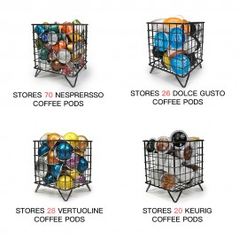 RECAPS Coffee Pod Storage Holder Coffee Capsules Kitchen Organizer Compatible with Nespresso Black Stores 70 Coffee Pods