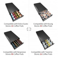 RECAPS Coffee Capsules Pods Storage Holder Drawer Kitchen Organizer Compatible with Nespresso Black Color