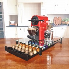 Coffee Pod Holder Storage Drawer Compatible with Nespresso Coffee Capsules Kitchen Organizer Black Holds 60 Capsules