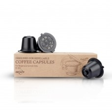 Refillable Capsule BPA Free Coffee Pods Reusable 30-50 Times Compatible with Nespresso Original Line Machines Black(Free Brush and Spoon)