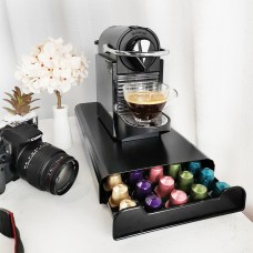 Coffee Pod Holder Storage Drawer Compatible with Nespresso Coffee Capsules Kitchen Organizer Black Holds 50 Capsules Black Color