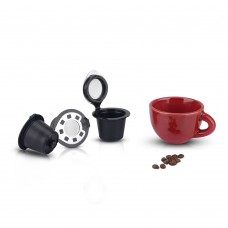 Refillable Capsule BPA Free Coffee Pods Reusable 50 Times Compatible with Nespresso Original Line Machines Black(Free Brush and Spoon)