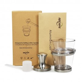 RECAPS Filling Tool Holder Tamper Kit Compatible with Vertuoline Coffee Pods(1 Tamper and 1 Holder and 30 Lids)